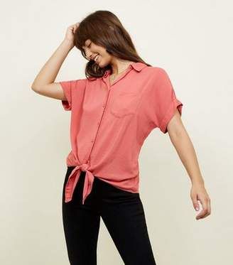 New Look Deep Pink Rolled Sleeve Tie Front Shirt
