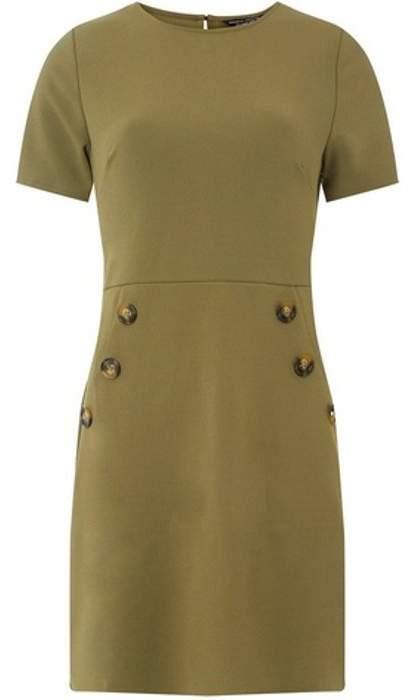 Womens Khaki Horn Button Shift Dress