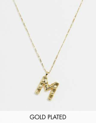 Asos Design DESIGN gold plated necklace with vintage style textured 'M' initial pendant