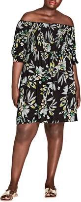 City Chic Maui Floral Off the Shoulder Dress