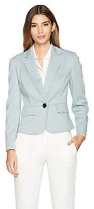 Kasper Women's Petite Ponte 1 Button Notch Lapel Jacket