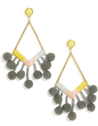 Solange Pom Pom Earrings $38 thestylecure.com