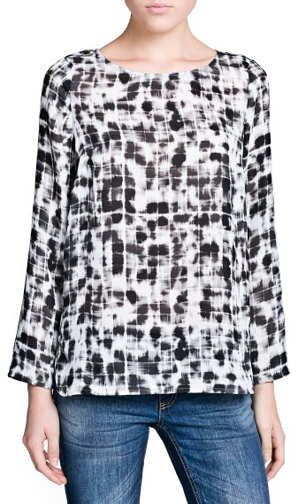 MANGO Outlet Watercolor Effect Check Top