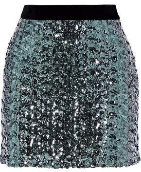 Milly Modern Velvet-Trimmed Sequined Tulle Mini Skirt