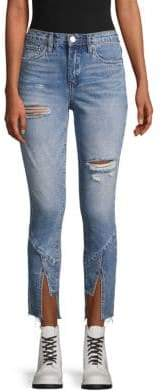 Blank NYC Ripped Step-Hem Ankle Jeans