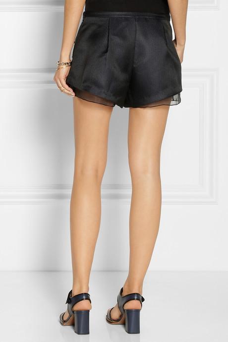 Thakoon Embellished satin-drill shorts