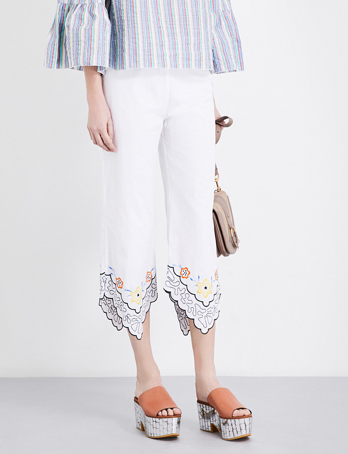 See By Chloe See By Chloe Floral-embroidered cropped cotton-poplin trousers