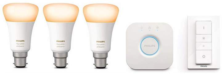 Hue White B22 Triple Pack With Bridge And Dimmer Switch