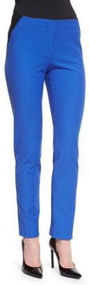Armani Collezioni Two-Tone High-Waist Skinny Pants, Light Blue $545 thestylecure.com