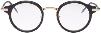 Thom Browne Black & Gold Round Glasses $600 thestylecure.com
