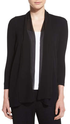 Joan Vass Chiffon-Trim 3/4-Sleeve Cardigan
