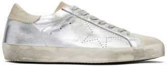 Golden Goose Silver and Grey Skate Superstar Sneakers