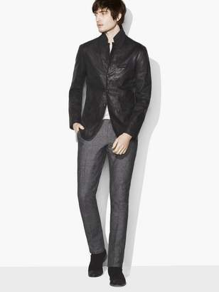 John Varvatos Crinkle Leather Blazer Jacket
