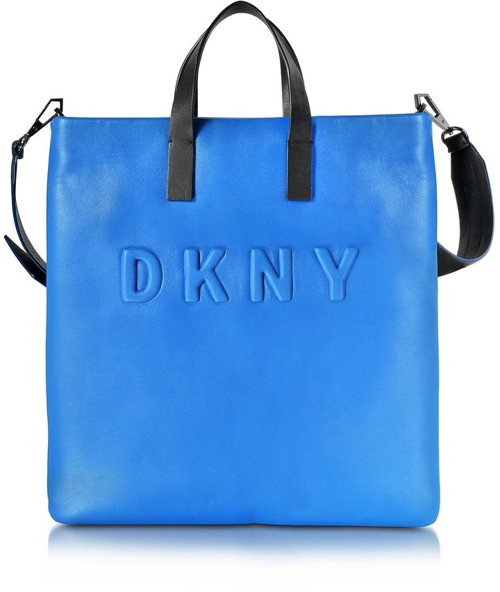 DKNY Debossed Logo Cerulean/Black Leather Tote