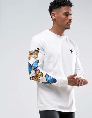 Devote Butterfly Print Long Sleeve Top