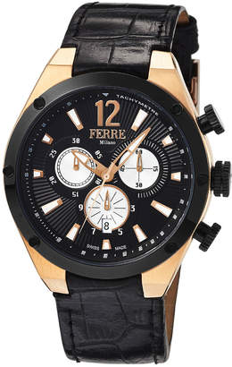 Ferré Milano Men's 44mm Stainless Steel Tachymeter Chronograph Watch with Leather Strap, Black/Golden