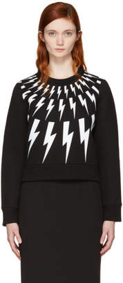 Neil Barrett Black Fairisle Thunderbolt Short Sweatshirt