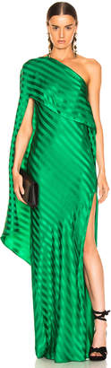 Mason by Michelle Mason One Shoulder Cape Gown in Green | FWRD