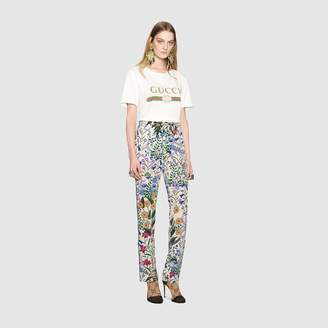Gucci New Flora print silk pajama pant