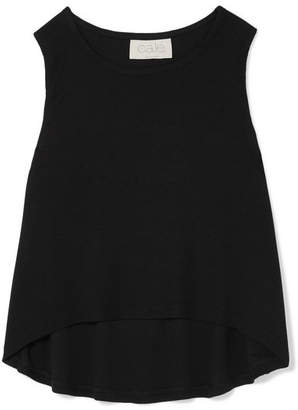 calé - Colette Cropped Stretch Modal-jersey Tank - Black