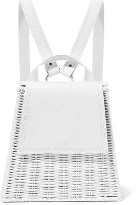 Wicker Wings - Tixing Tall Rattan And Leather Backpack - White