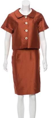 Oscar de la Renta Short Sleeve Knee-Length Skirt Suit