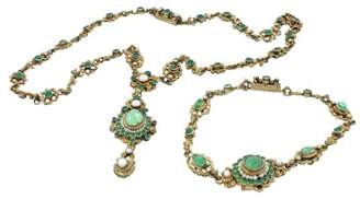 Silver Emerald Pearl Bohemian Necklace Bracelet Set