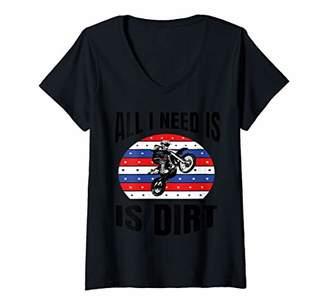 Womens Moto Boss Braaap Dirt Bike Motocross Off-Roading V-Neck T-Shirt