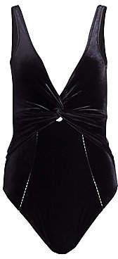 Jonathan Simkhai Women's Velvet Twist Detail One-Piece Swimsuit