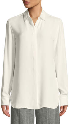 Loro Piana Jocelyn Button-Front Long-Sleeve Classic Silk Blouse