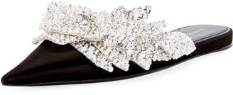 Balenciaga Satin Embroidered Pointed Flat