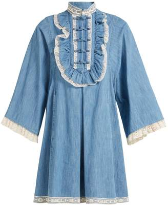 Gucci Lace-trimmed chambray dress