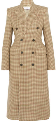 Double-breasted Checked Wool-blend Coat - Beige