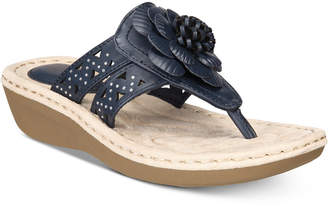 White Mountain Cynthia Thong Wedge Sandals Women's Shoes