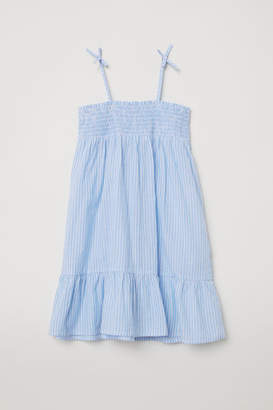 H&M Cotton Dress with Smocking - White