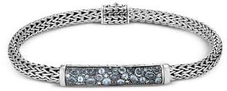 John Hardy Sterling Silver Classic Chain Extra Small Bracelet with London Blue Topaz, Swiss Blue Topaz & Blue Zircon