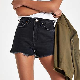 River Island Womens Black Annie washed high waist denim shorts