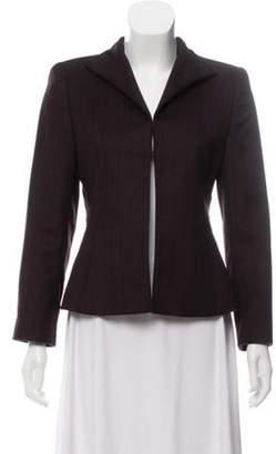 Akris Angora and Wool Blend Pinstripe Blazer Plum Angora and Wool Blend Pinstripe Blazer