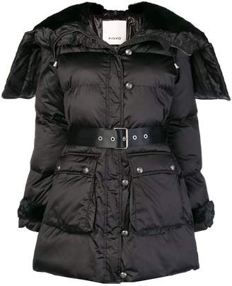 Pinko oversized collar puffer jacket