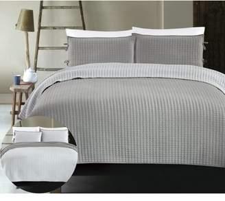 California Design Den X Cross Stitch 3-Piece Reversible Bedding Coverlet Set, King Size Lightweight Quilted Grey Bedspreads, Grey/Light Grey