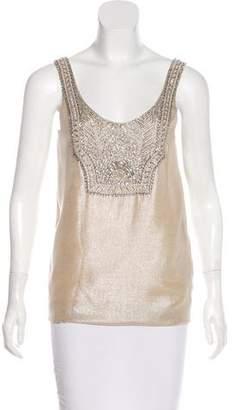 Ralph Lauren Black Label Sleeveless Silk Embellished Top