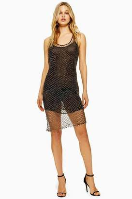 Topshop Beaded Crochet Mini Dress