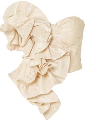 Alexander McQueen Strapless Ruffled Silk-jacquard Bustier Top - Cream
