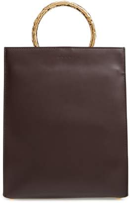 Marni Pannier Hammered Handle Leather Tote