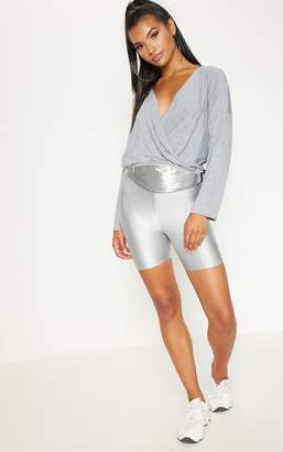 PrettyLittleThing Grey Jersey Drape Wrap Top