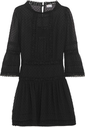 REDValentino - Crochet-trimmed Swiss-dot Georgette Mini Dress - Black $950 thestylecure.com