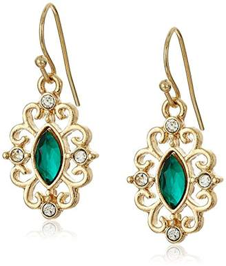 1928 Jewelry Gold-Tone Green Navette and Crystal Accent Filigree Drop Earrings