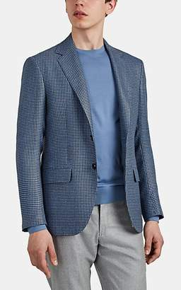 Sartorio Men's Houndstooth Wool-Linen Two-Button Sportcoat - Blue Pat.