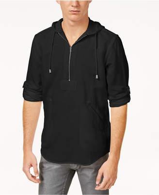 INC International Concepts I.n.c. Men's Half-Zip Linen-Blend Hoodie, Created for Macy's