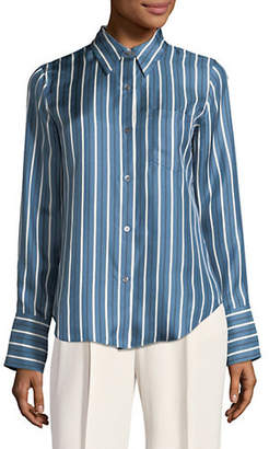 Theory Striped Silk Button-Down Shirt